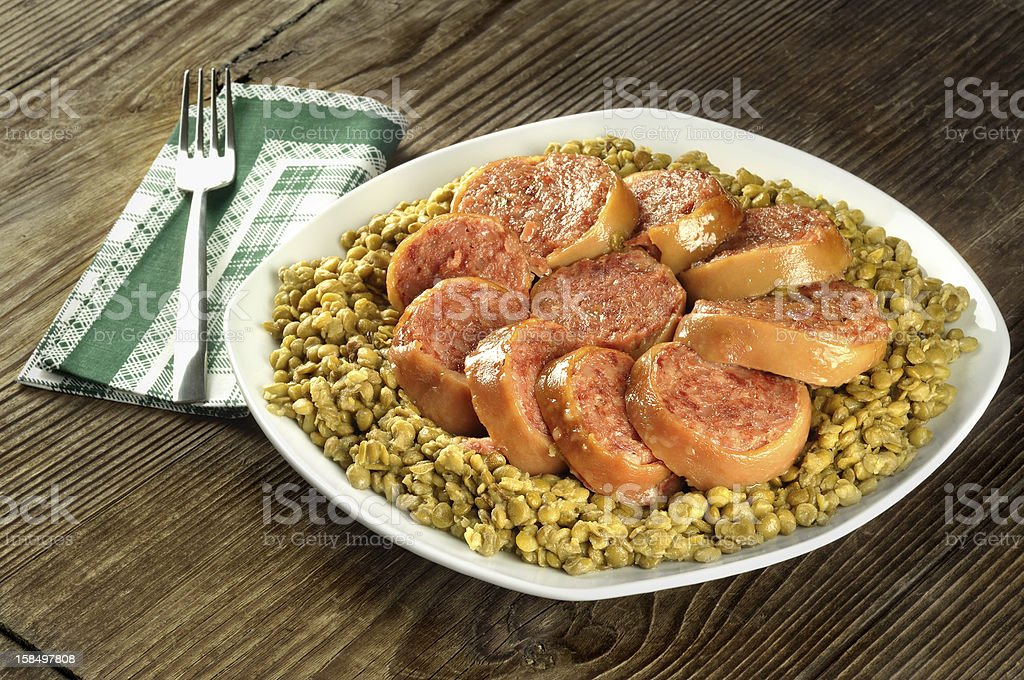 Pig trotter with lentils - zampone con le lenticchie stock photo