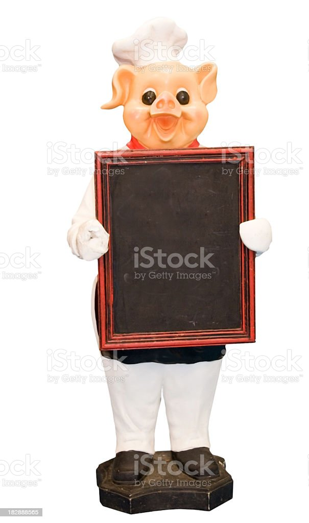 Pig with a chefs hat holding a blackboard with copy stock photo