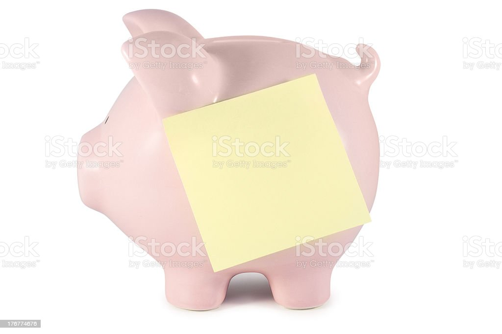 Pig with reminder note royalty-free stock photo