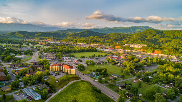 Pigeon Forge and Sevierville Tennessee Drone Aerial Pigeon Forge and Sevierville Tennessee Drone Aerial. pigeon forge stock pictures, royalty-free photos & images