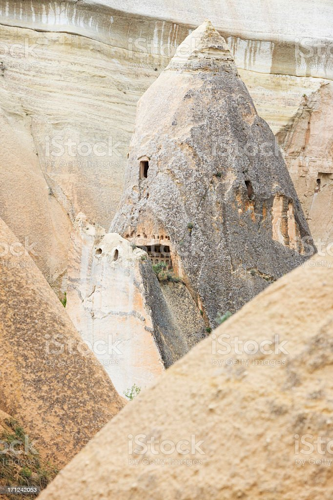 Pigeon house in the Rose Valley, Cappadocia, Turkey royalty-free stock photo