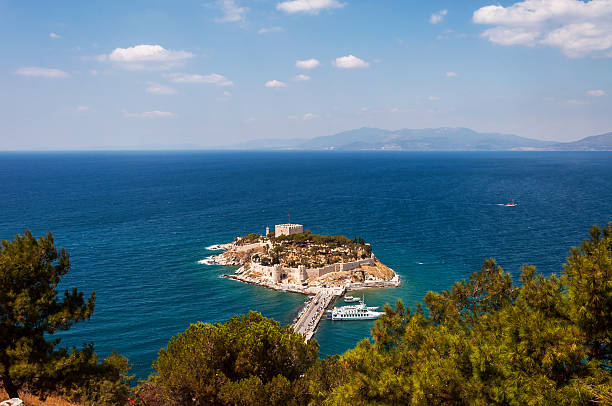 Pigeon Island overview, Kusadasi stock photo