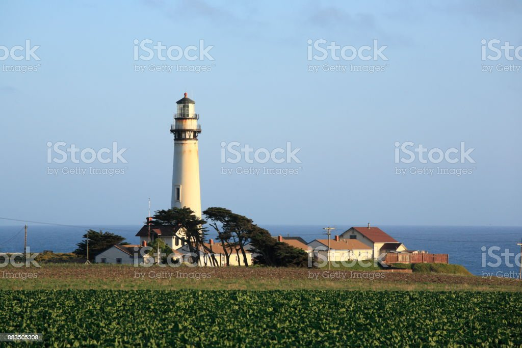 Pigeon Point Light Station, next to CA Route 1 stock photo