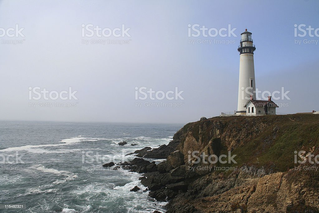 Pigeon Point Lighthouse as the Fog Clears stock photo