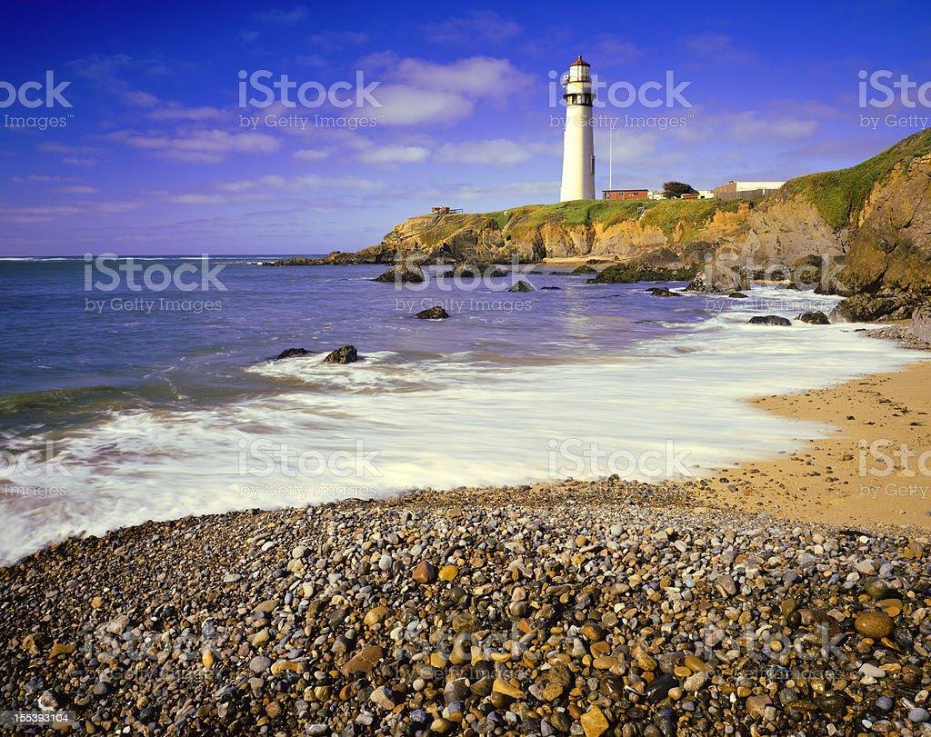 Pigeon Point Lighthouse on California Coastline stock photo