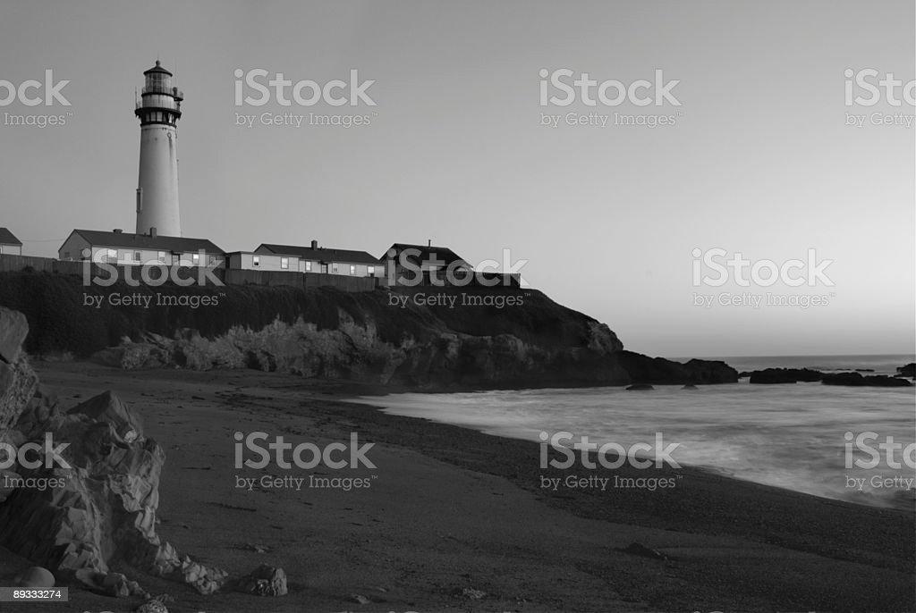 Pigeon Point Lighthouse Rocky Beach B/W royalty-free stock photo