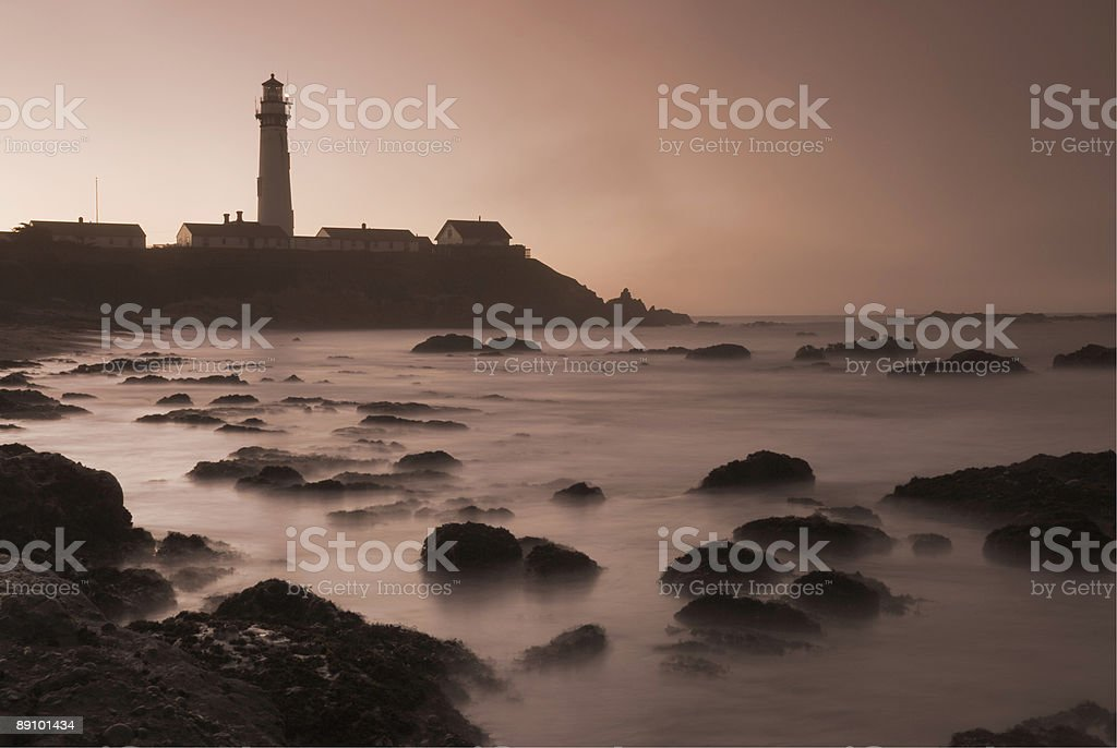 Pigeon Point Lighthouse, Sunrise, Fog, Sepia royalty-free stock photo