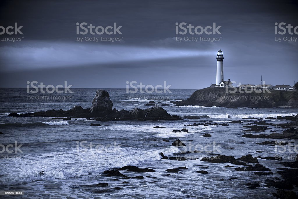 Pigeon Point lighthouse USA, California, Big Sur stock photo
