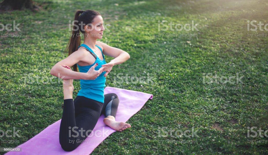 Fotografía de Paloma Se Pose En Un Parque En La Estera De Yoga ...