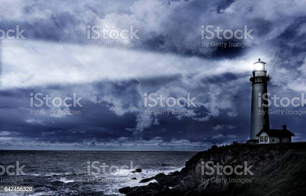 Photo of Pigeon Pt. lighthouse at night