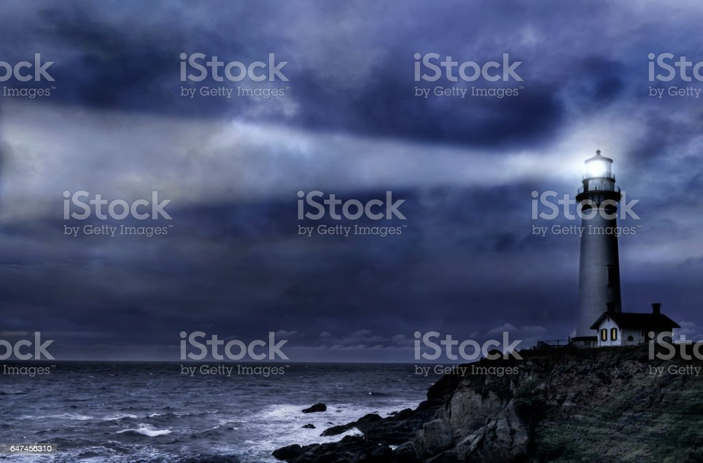 Pigeon Pt. Lighthouse during winter storm stock photo
