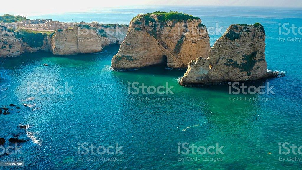 Pigeon Rocks / Rouche Sea Rock, Beirut stock photo