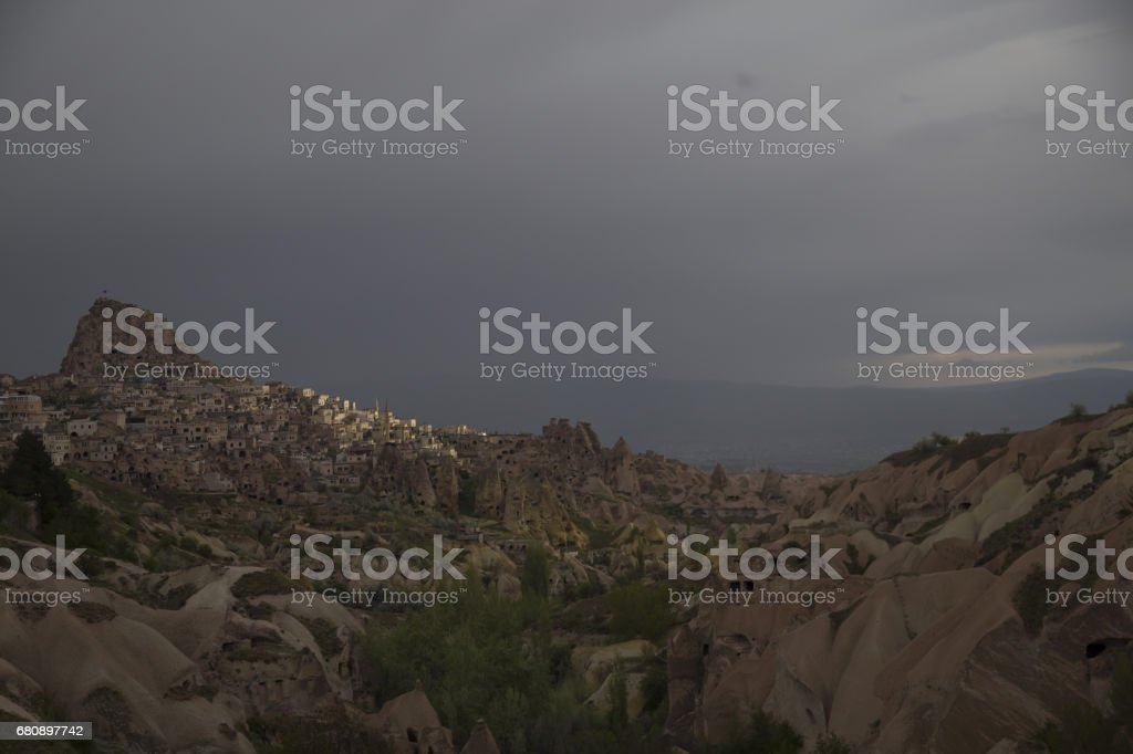 Pigeon Valley in Goreme in the summer months. Cappadocia, Turkey royalty-free stock photo