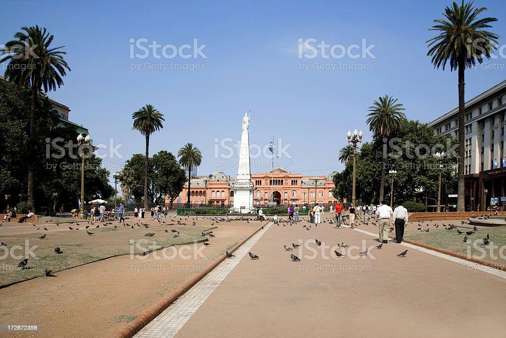 Pigeons & people at Casa Rosada, Buenos Aires, Argentina stock photo