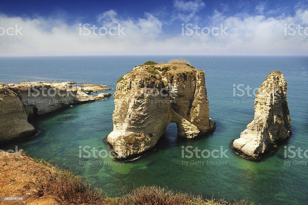 Pigeons' Rock Beirut stock photo