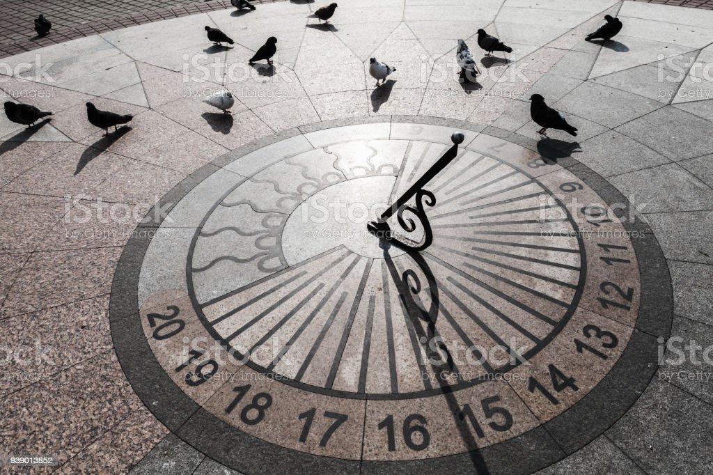 Tauben-Spaziergang am urbanen Sonnenuhr – Foto