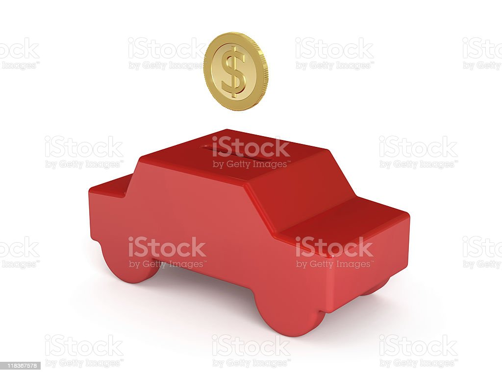 Piggi Bank - Saving for a Car Concept (dollar edition) stock photo