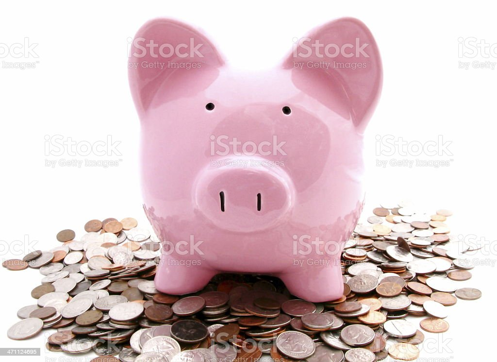 Piggy and Coins royalty-free stock photo