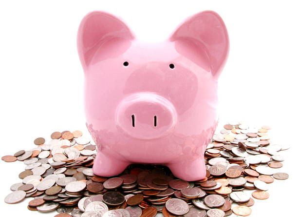 Piggy and Coins stock photo