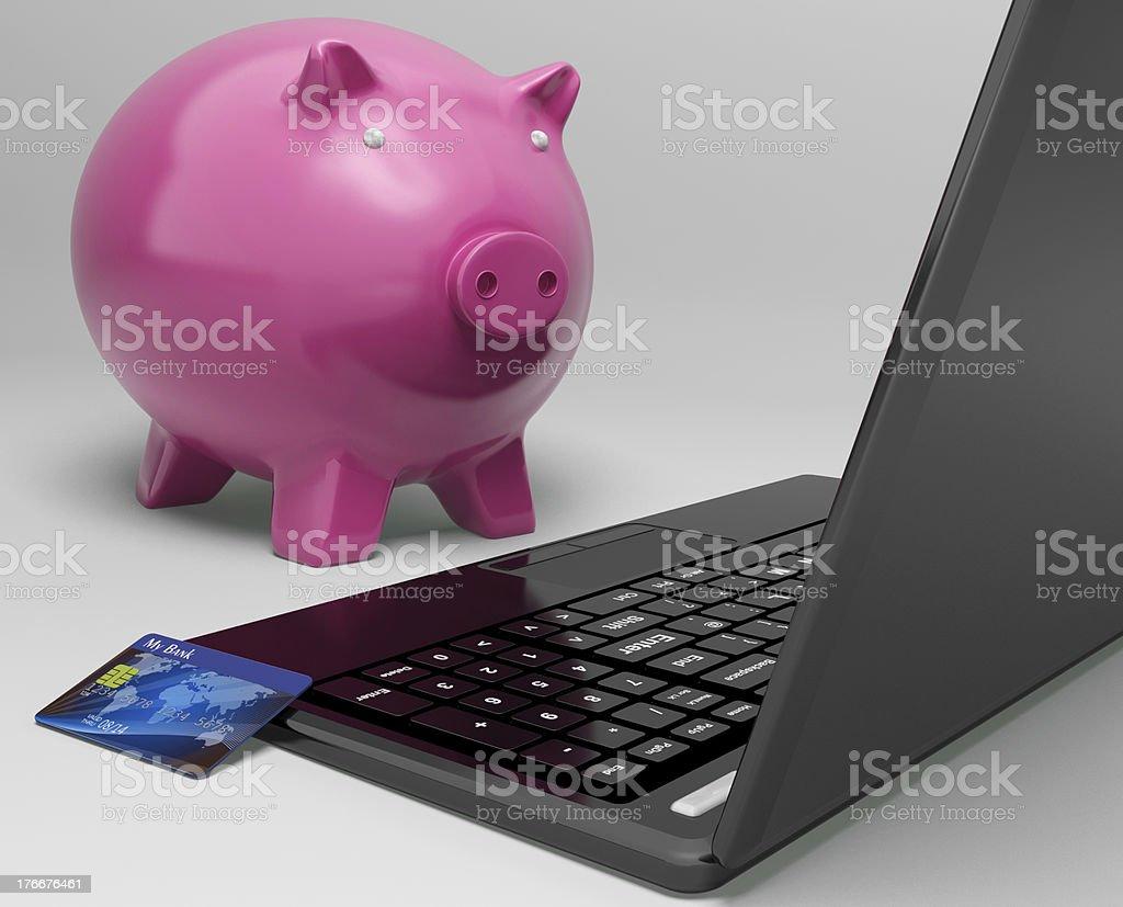Hucha en ordenador muestra el crecimiento del sector bancario inversión foto de stock libre de derechos