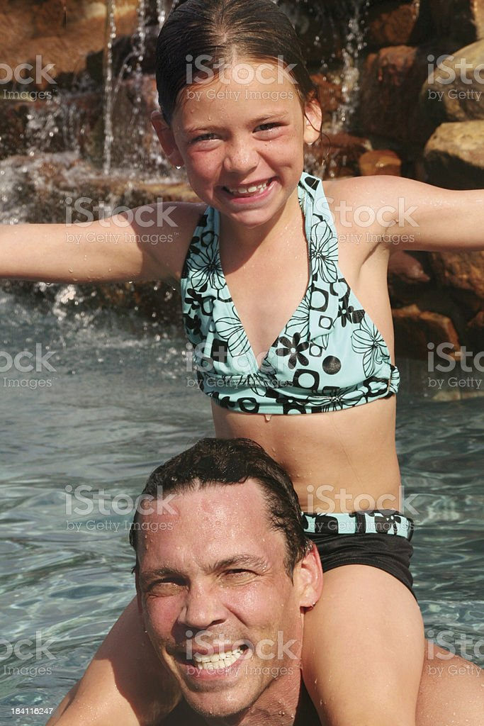 Piggy Back in the Pool stock photo