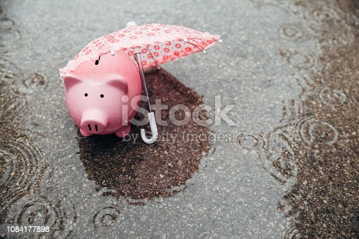 Piggy Bank alone waiting road