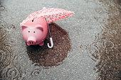 Piggy Bank alone waiting road
