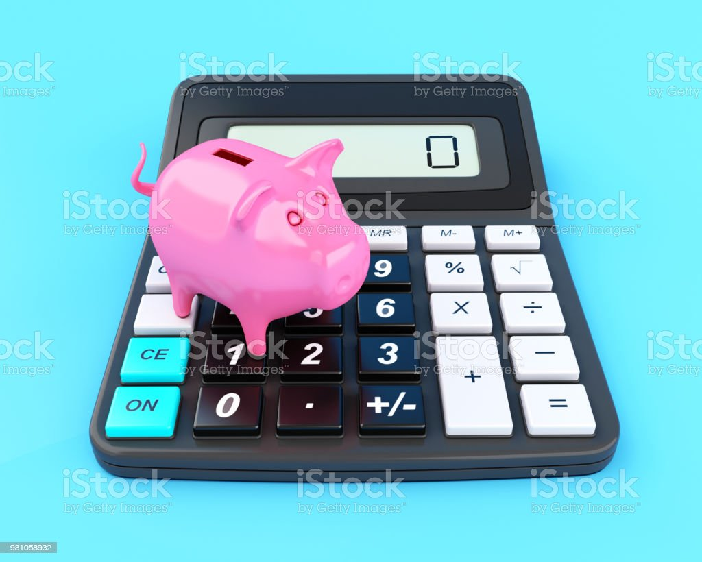 3D Piggy bank and calculator. stock photo