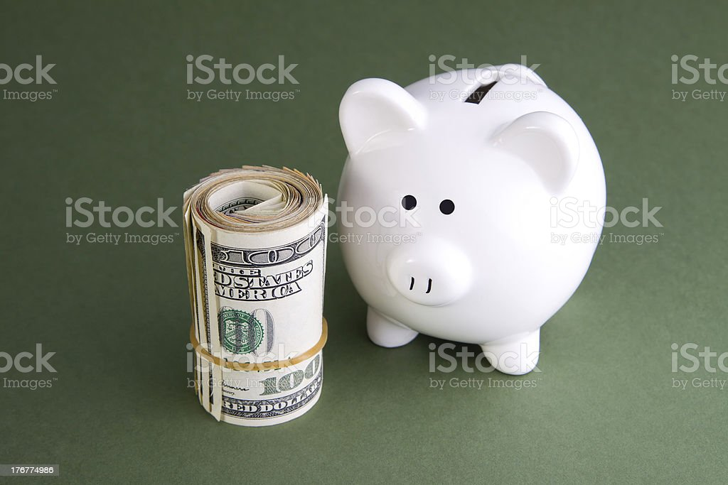 Piggy Bank and Cash royalty-free stock photo