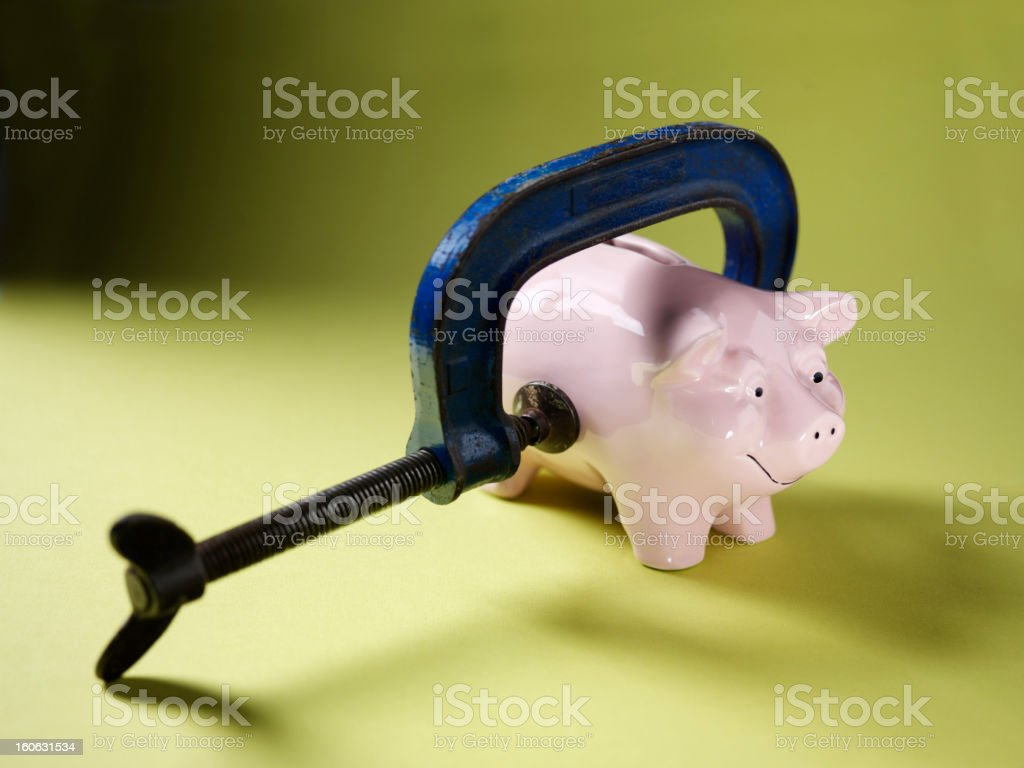 Piggy Bank and Clamp royalty-free stock photo