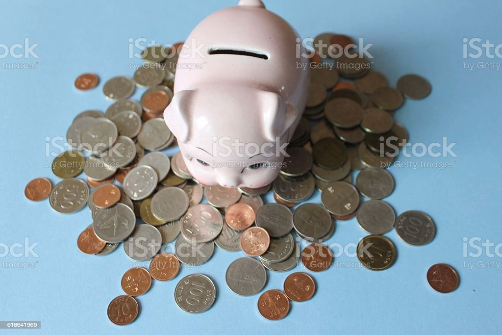 piggy bank and coin. top side stock photo