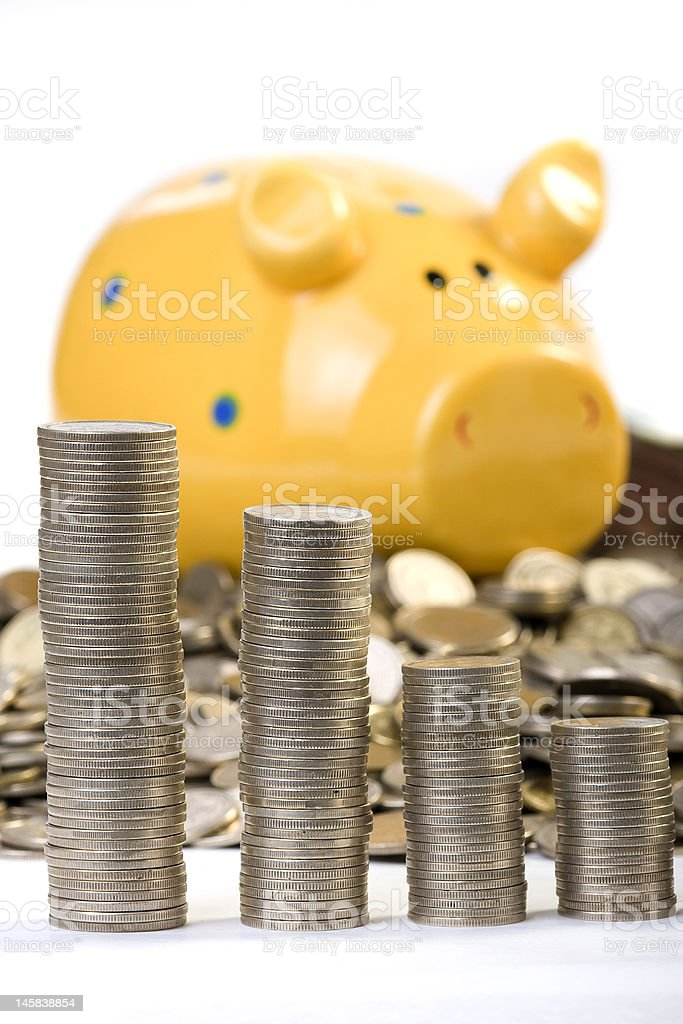 Piggy bank and coins chart royalty-free stock photo