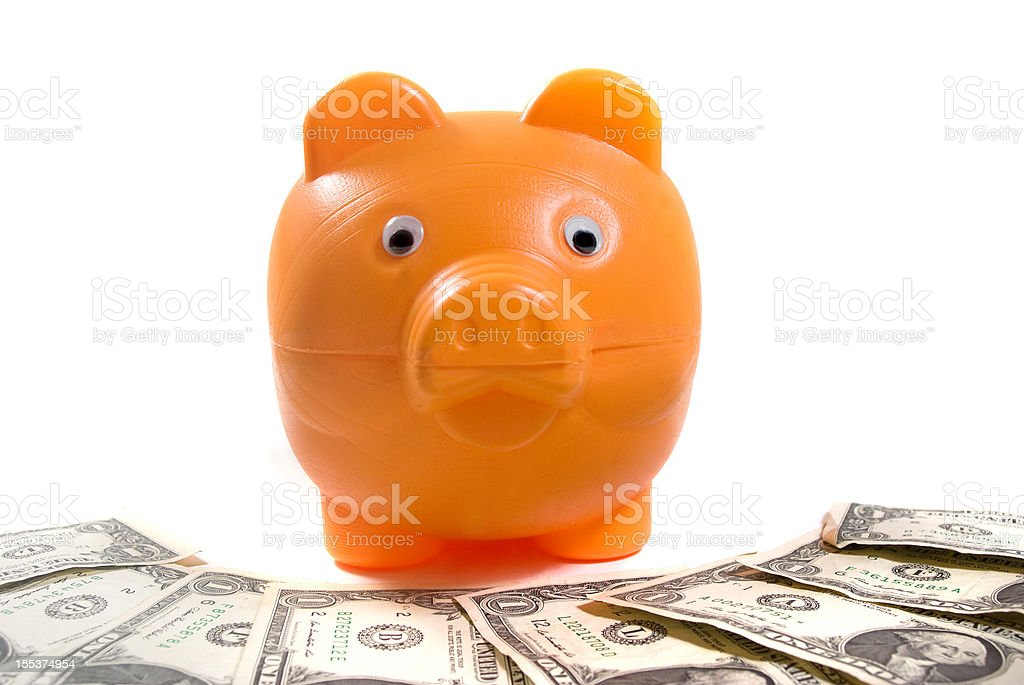 piggy bank and dollars royalty-free stock photo