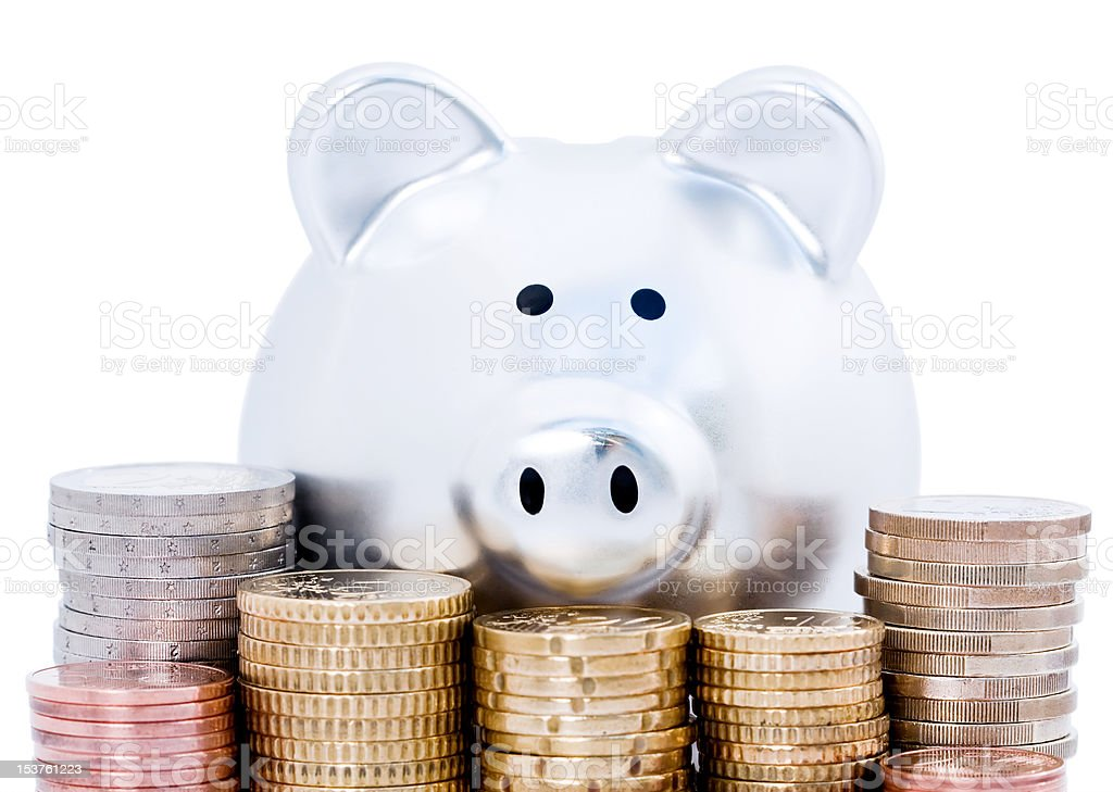 Piggy bank and Euro coins royalty-free stock photo