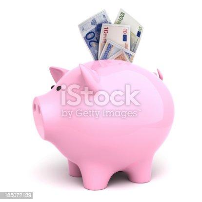 Piggy bank with a bank notes. Euro