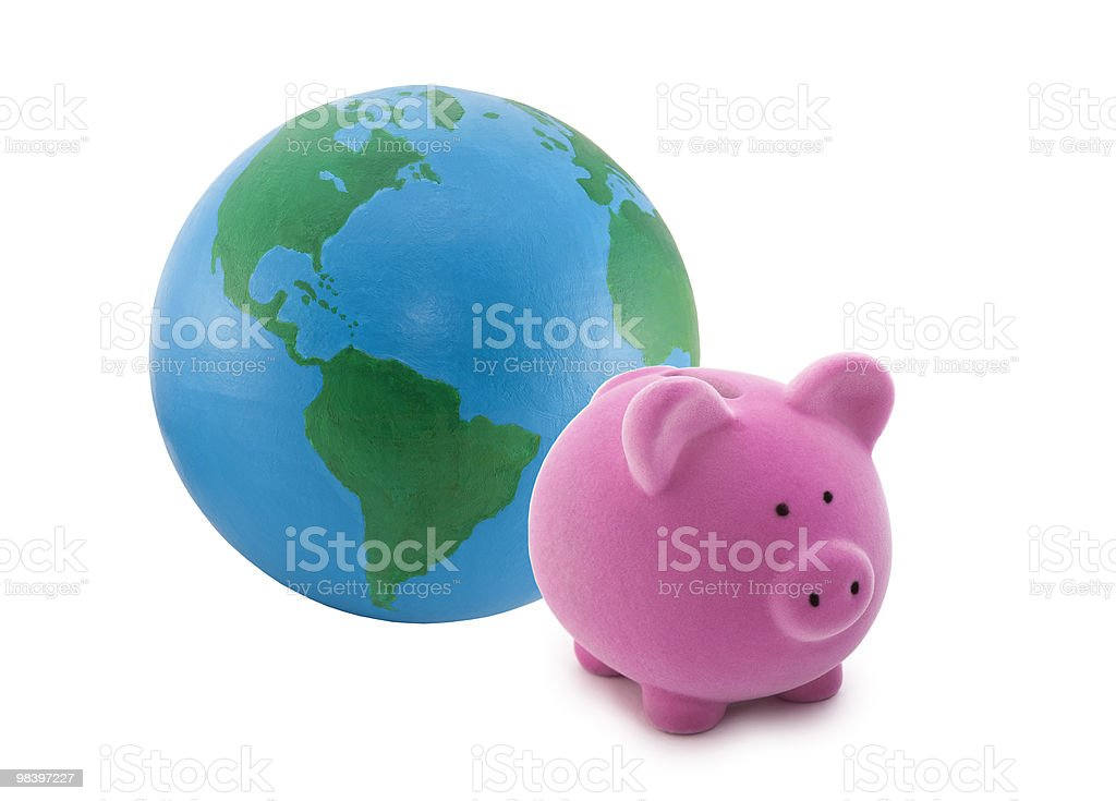 Piggy bank and globe isolated on white royalty-free stock photo