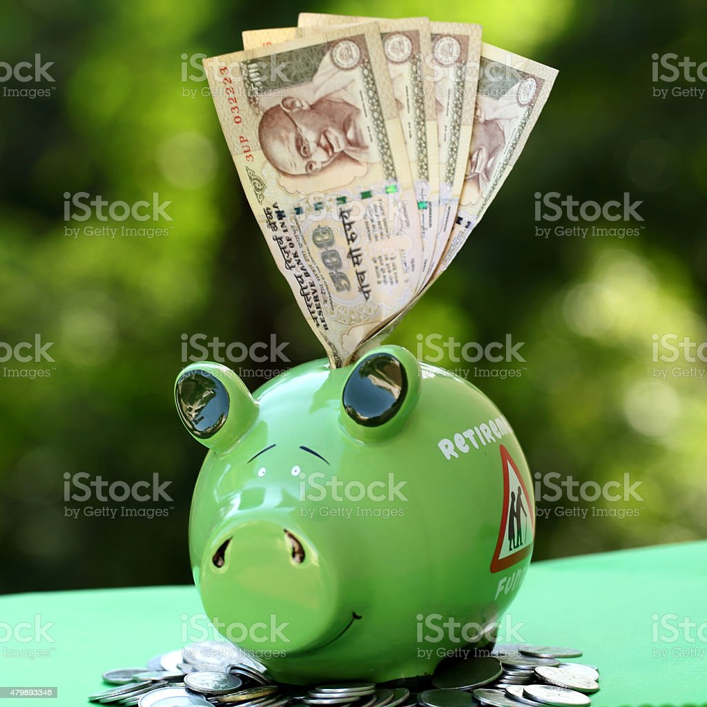 Piggy bank and Indian currency notes - money concept stock photo