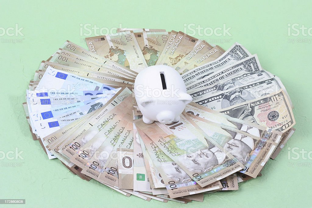 Piggy Bank and moneys royalty-free stock photo