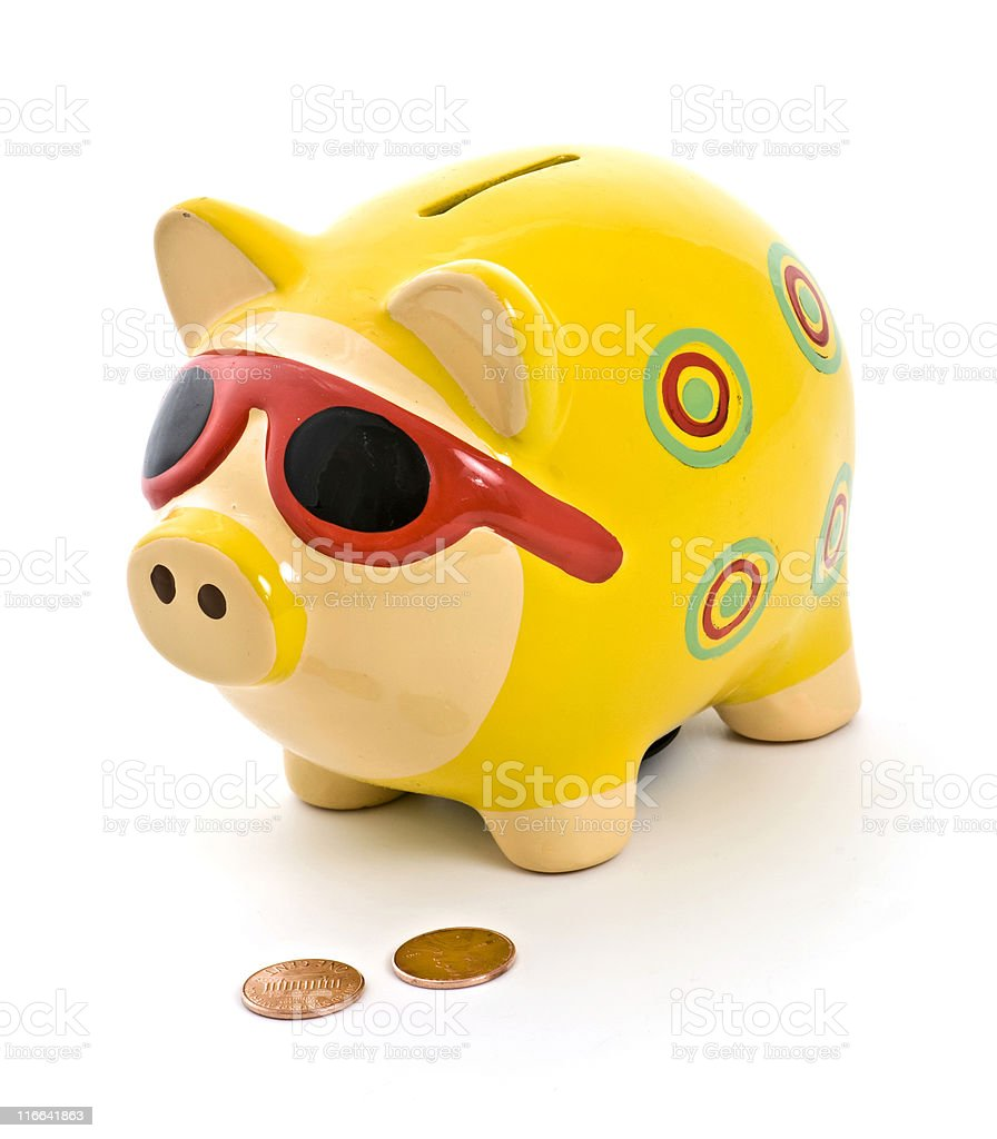 Piggy Bank and Pennies Isolated royalty-free stock photo