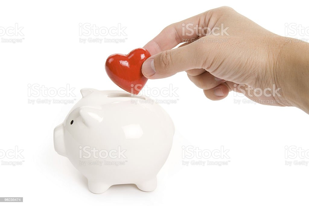 Piggy Bank and Red Heart royalty-free stock photo