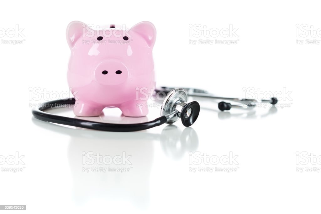 Piggy Bank and Stethoscope Isolated on White stock photo