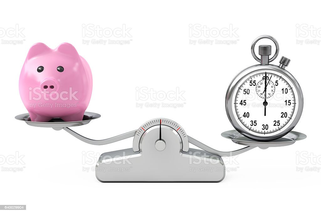Piggy Bank and Stopwatch Balancing on a Simple Weighting Scale. stock photo