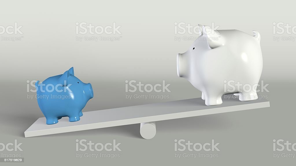 Piggy bank -  big and small pig on a rocker stock photo