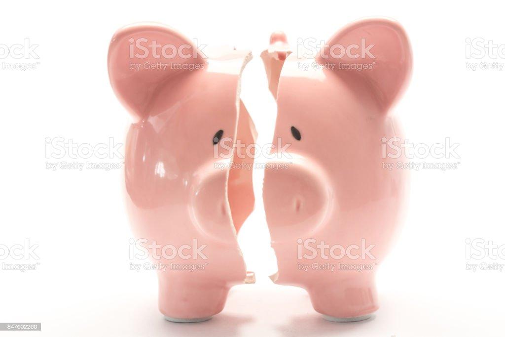 Piggy bank broken stock photo
