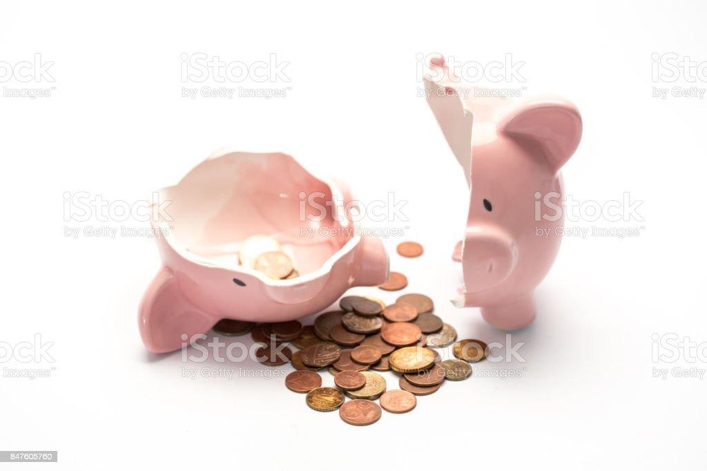 Piggy bank broken with money stock photo