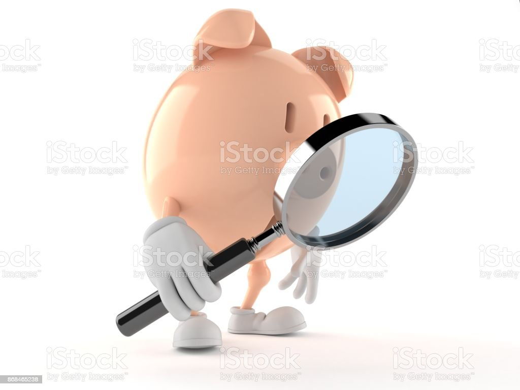 Piggy bank character looking through magnifying glass stock photo