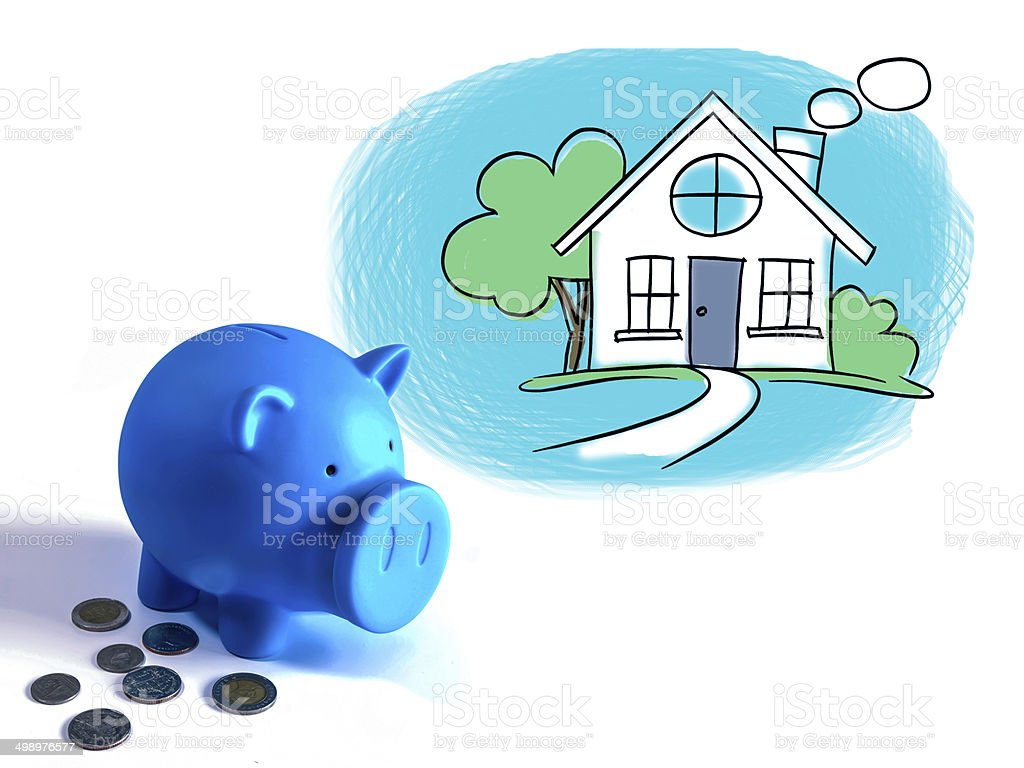 Piggy bank, Character of financial with dream home  illustration royalty-free stock photo