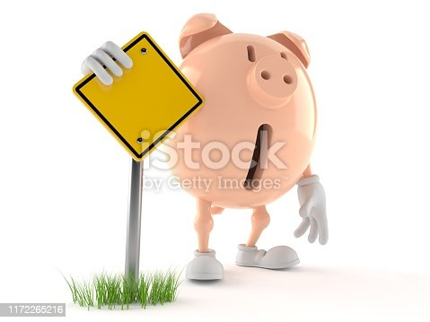 Piggy bank character with blank road sign isolated on white background. 3d illustration