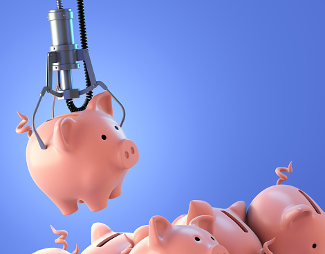 Piggy bank chosen by a claw crane arcade game