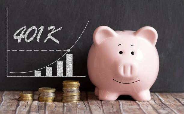 401K piggy bank concept 401K retirement savings piggy bank concept 401k stock pictures, royalty-free photos & images